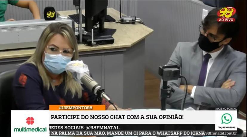 """PRESIDENTE MARIA ELIZA É ENTREVISTADA NO """"12 EM PONTO 98"""" SOBRE RETOMADA DE CIRURGIAS ELETIVAS NO RN"""